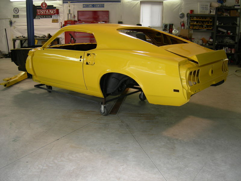 Yellow Horse is finally home.  Painter Dave still has the valances, hood, cowl cover, spoiler's and louvers.  I should have those in a few weeks.